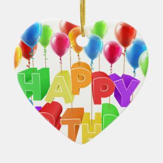 Ornement Cœur En Céramique Joyeux anniversaire flottant sur des ballons