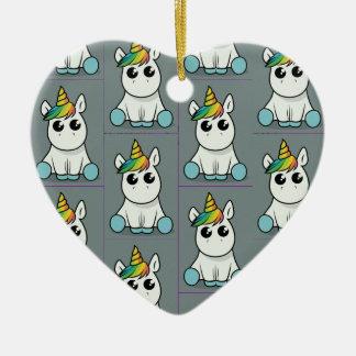 Ornement Cœur En Céramique Joyeux Noël de licorne
