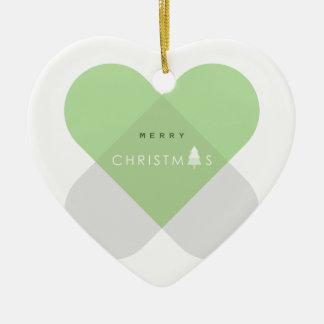 Ornement Cœur En Céramique Joyeux Noël - vert