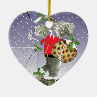 Ornement Cœur En Céramique joyeux passionés du football de Noël