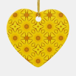 Ornement Cœur En Céramique Kaléidoscope des tournesols, jaune lumineux