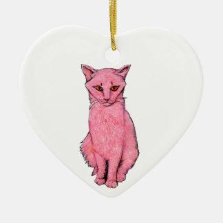 Ornement Cœur En Céramique Kitty rose
