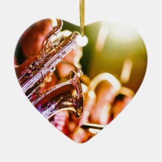 Ornement Cœur En Céramique Klaxons de saxophones d'instruments de musique de