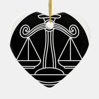Ornement Cœur En Céramique La Balance mesure le signe de zodiaque d'horoscope