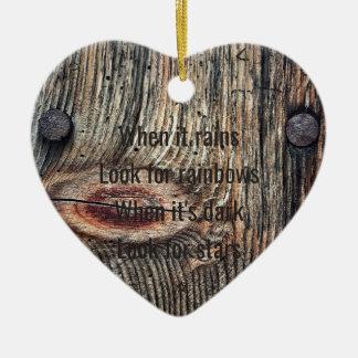 Ornement Cœur En Céramique La citation en bois de photo Dble-a dégrossi coeur