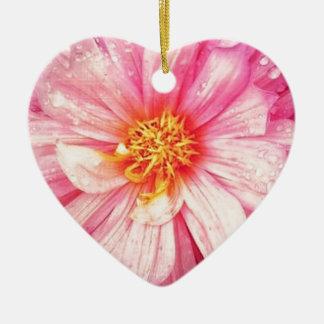 Ornement Cœur En Céramique La fleur rose de dahlia Dble-a dégrossi coeur