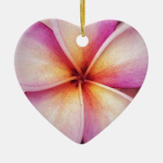 Ornement Cœur En Céramique La fleur rose de Frangipane Dble-a dégrossi coeur