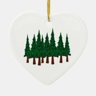 Ornement Cœur En Céramique La forêt à feuillage persistant