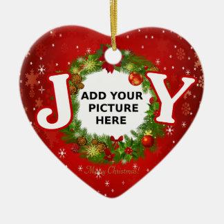 Ornement Cœur En Céramique La JOIE faite sur commande de Noël de photo