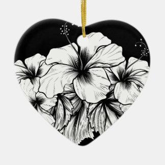 Ornement Cœur En Céramique La ketmie fleurit la gravure vintage gravure à