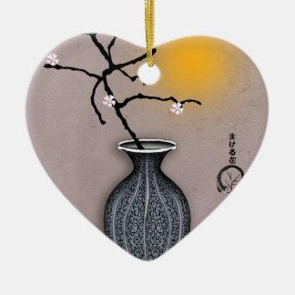 Ornement Cœur En Céramique la lune élégante des fernandes et la fleur de 5