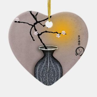 Ornement Cœur En Céramique la lune élégante des fernandes et la fleur de 6