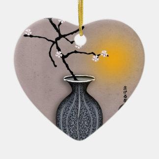 Ornement Cœur En Céramique la lune élégante des fernandes et la fleur de 8