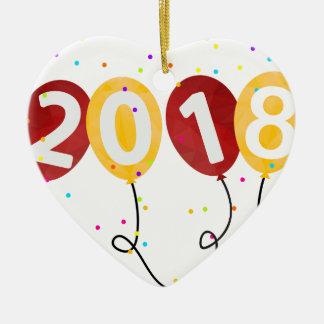 Ornement Cœur En Céramique La partie de 2018 bonnes années monte en ballon la