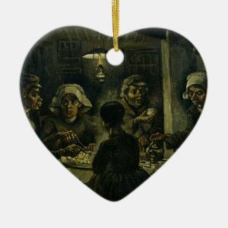 Ornement Cœur En Céramique La peinture de mangeurs de pomme de terre