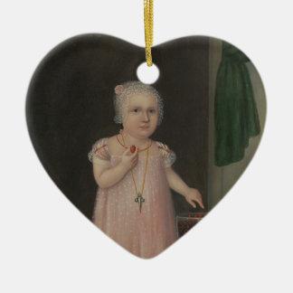 Ornement Cœur En Céramique La petite fille déplaisante mange la sucrerie