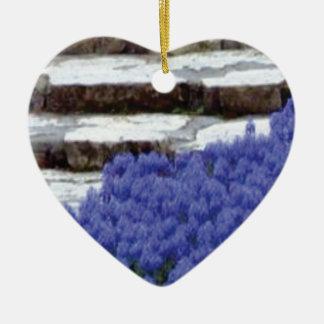 Ornement Cœur En Céramique la pierre fait un pas les fleurs bleues