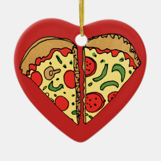 Ornement Cœur En Céramique La pizza d'amour ajoutent des noms