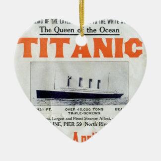 Ornement Cœur En Céramique La Reine titanique de l'océan - ligne blanche