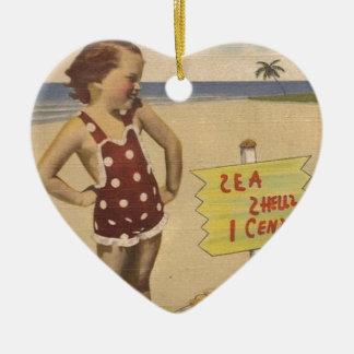 Ornement Cœur En Céramique La rétro mer vintage d'art écosse la Floride
