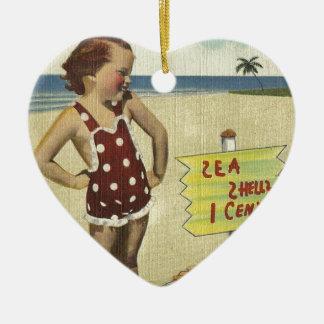 Ornement Cœur En Céramique La rétro mer vintage écosse la Floride