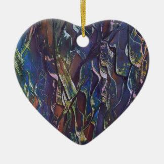 Ornement Cœur En Céramique La variété bleue d'herbe