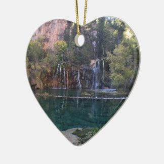 Ornement Cœur En Céramique Lac accrochant