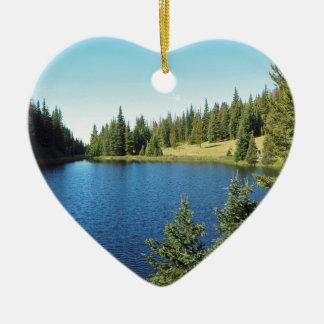 Ornement Cœur En Céramique lac Irène en parc national de montagne rocheuse