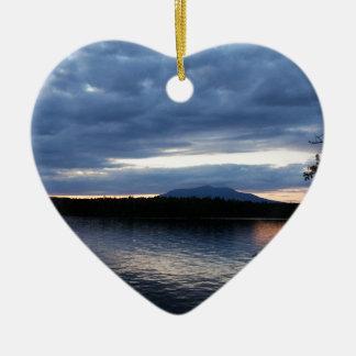 Ornement Cœur En Céramique Lac Maine Katahdin Millinocket de bâti au