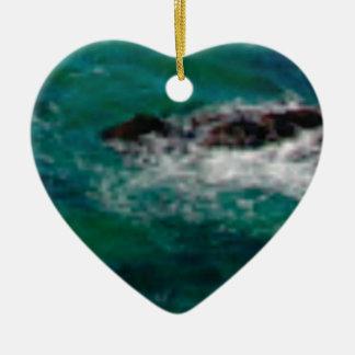 Ornement Cœur En Céramique lagune avec des roches
