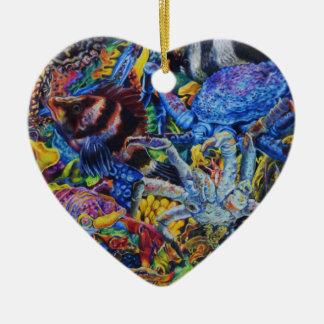 Ornement Cœur En Céramique Lagune de homard