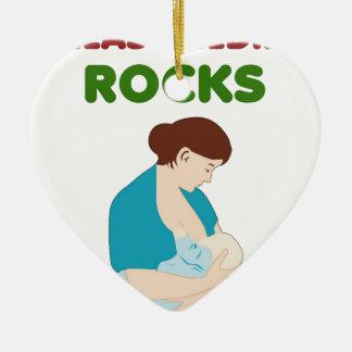 Ornement Cœur En Céramique l'allaitement des roches, mère, bébé trait le