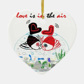 Ornement Cœur En Céramique L'amour est dans le ciel