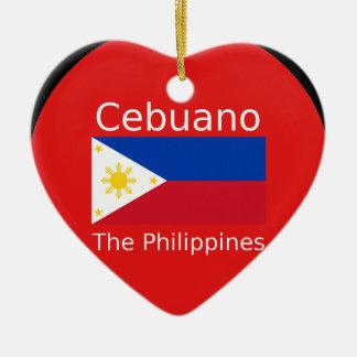 Ornement Cœur En Céramique Langue de Cebuano et drapeau de Philippines