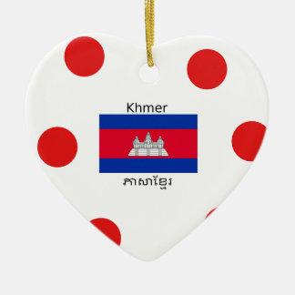 Ornement Cœur En Céramique Langue de Khmer et conception de drapeau de