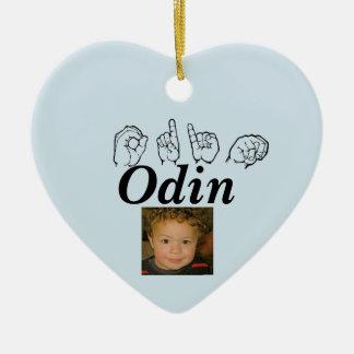 Ornement Cœur En Céramique Langue des signes américaine Fingerspelled Odin