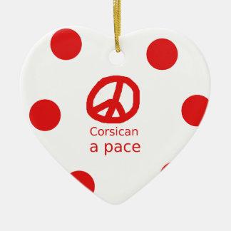 Ornement Cœur En Céramique Langue et conception corses de symbole de paix