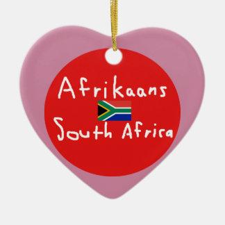 Ornement Cœur En Céramique Langue et drapeau de l'Afrique du Sud d'afrikaans