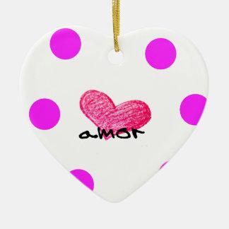 Ornement Cœur En Céramique Langue portugaise de conception d'amour