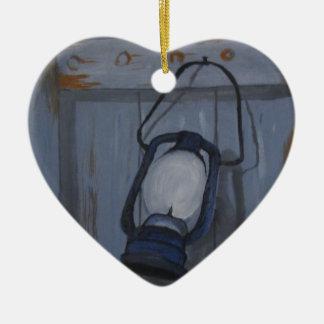 Ornement Cœur En Céramique Lanterne bleue