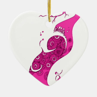 Ornement Cœur En Céramique L'arbre rose