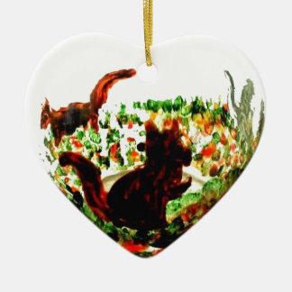 Ornement Cœur En Céramique L'automne accumule l'art animal