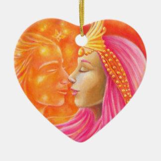 Ornement Cœur En Céramique Le baiser