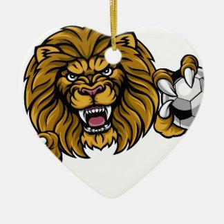 Ornement Cœur En Céramique Le ballon de football de lion folâtre la mascotte