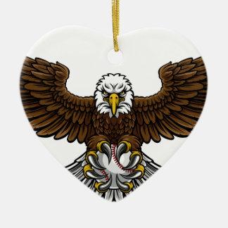 Ornement Cœur En Céramique Le base-ball d'Eagle folâtre la mascotte