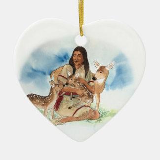 Ornement Cœur En Céramique Le clan de cerfs communs enfantent avec ses faons