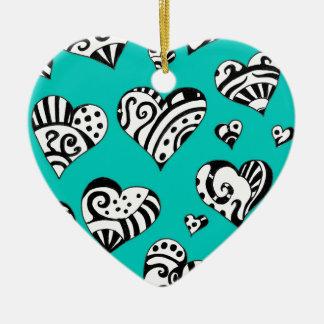Ornement Cœur En Céramique Le coeur gribouille l'art turquoise d'encre