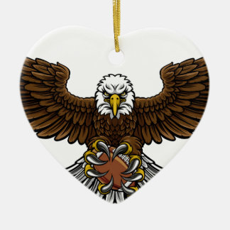 Ornement Cœur En Céramique Le football américain d'Eagle folâtre la mascotte