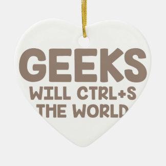 Ornement Cœur En Céramique Le geeks ordonne le monde