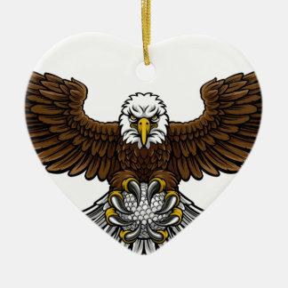 Ornement Cœur En Céramique Le golf d'Eagle folâtre la mascotte